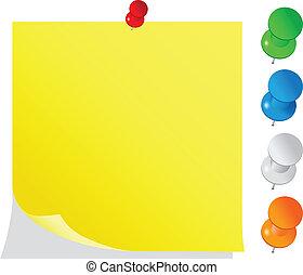 メモ, ブランク, 黄色, ポストそれ