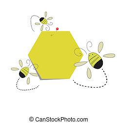 メモ, ポスト, ペーパー, それ, ハチの巣