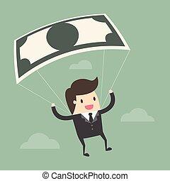 メモ, 使うこと, ビジネスマン, 銀行, parachute.