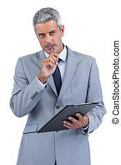 メモ, 勤勉, 保有物のクリップボード, ビジネスマン, 取得