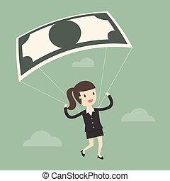 メモ, 女性実業家, 銀行, 使うこと, parachute.