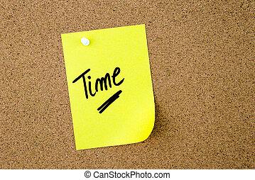 メモ, 書かれた, ペーパー, 黄色, 時間