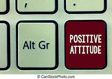 メモ, 生活, よい, ビジネス, ある, 写真, 提示, 執筆, 見る, 楽天的である, もの, showcasing, attitude., ポジティブ