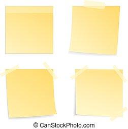 メモ, 白い背景, スティック, 黄色