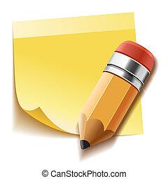 メモ, 鉛筆, スティック, 黄色, 現実的