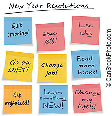 メモ, 隔離された, 付せん, 年, 新しい, resolutions