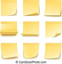 メモ, 隔離された, 黄色, 付せん, バックグラウンド。, 白