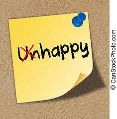 メモ, 黄色, くぎ付けにされた, 書かれた, 不幸, マーカー, 赤, 幸せ