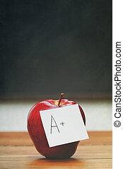 メモ, 黒板, アップル, 赤い机