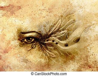 メモ, feathers., 目, 図画, 女性