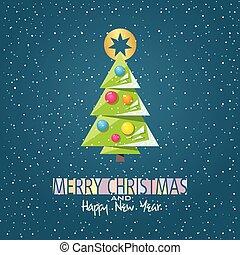 メリークリスマス, そして, 新年おめでとう, カード, ∥で∥, グラフィック, クリスマスツリー, そして, 雪
