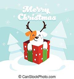 メリークリスマス, そして, 新年おめでとう, カード, ∥で∥, 幸せ, 犬, 中に, 贈り物, box., ベクトル, イラスト