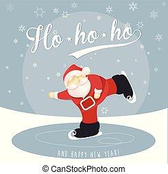 メリークリスマス, そして, 新年おめでとう, グリーティングカード, ∥で∥, アイススケート, santa, 上に, lake.
