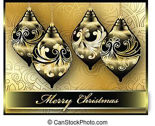メリークリスマス, カード, ベクトル