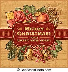 メリークリスマス, レトロ, カード