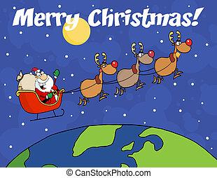 メリークリスマス, 上に, santa, 振ること, a