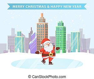 メリークリスマス, 新年おめでとう, アイススケート, santa