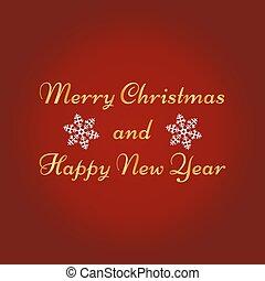 メリークリスマス, 新年おめでとう, グリーティングカード, 上に, 赤, バックグラウンド。