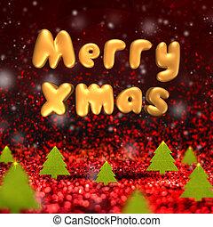 メリークリスマス, 3d, レンダリング, テキスト, 浮く, 上に, 緑, クリスマスツリー, そして, 雪, 落ちる, 赤, そして, 金, きらめき, スタジオ, 部屋, 休日, 概念