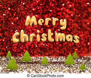 メリークリスマス, (3d, レンダリング, text), 浮く, 上に, 緑, クリスマスツリー, 中に, 赤, そして, 金, きらめき, スタジオ, 部屋, 休日, 概念