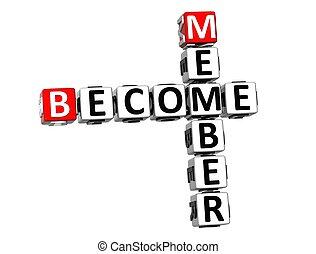 メンバー, クロスワードパズル, 背景, なる, 白, 3d
