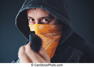 メンバー, 犯罪者, フード付き, 銃, ギャング