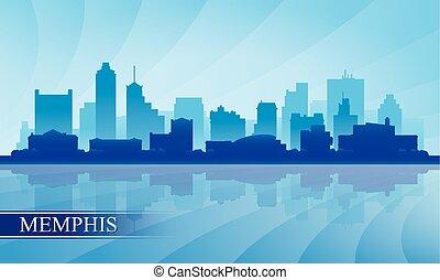 メンフィス, 都市 スカイライン, シルエット, 背景
