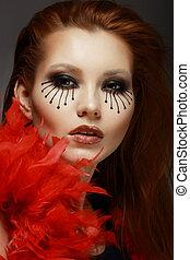 メーキャップ, 目, stage., 女性, 顔, スタイルを作られる, theater., 創造的