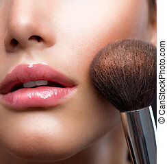 メーキャップ, closeup., 化粧品, 粉, brush., 完全な皮