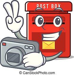 メールボックス, ベクトル, マスコット, カメラマン