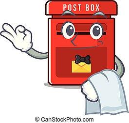 メールボックス, マスコット, ベクトル, ウエーター