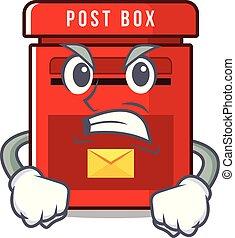 メールボックス, 怒る, マスコット, ベクトル