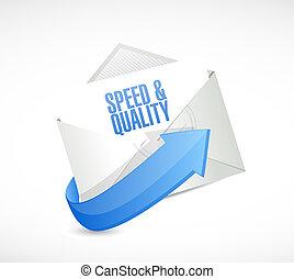 メール, スピード, 品質, イラスト, 印