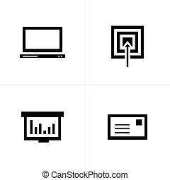 メール, ターゲット, ラップトップ, グラフ, アイコン
