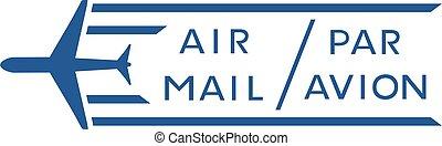メール, パー, シンボル, avion, 空気