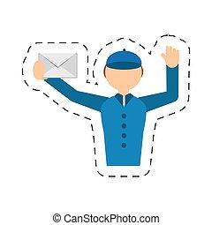 メール, ポスト, 封筒, 急使, 人