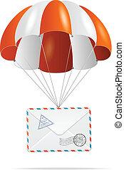 メール, delivery., parachute.
