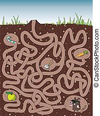 モグラ, そして, molehill, 迷路, ゲーム