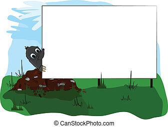 モグラ, 広告板, 見る
