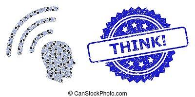 モザイク, アイコン, think!, textured, 切手, フラクタル, テレパシー, 波