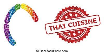 モザイク, ソーセージ, textured, シール, 切手, 虹, タイの 料理