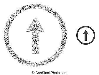 モザイク, 円形にされる, 自己, 項目, 矢, recursive, の上