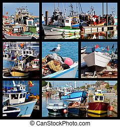 モザイク, 写真, の, 漁船