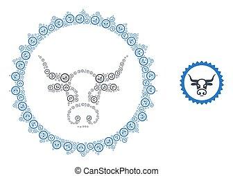モザイク, 切手, 自己, 牛, アイコン, シール, recursive