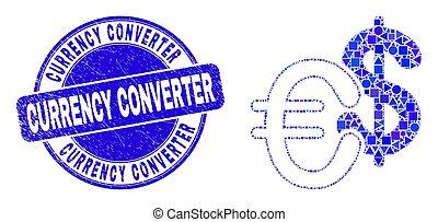 モザイク, 切手, 青, 変換器, グランジ, 通貨