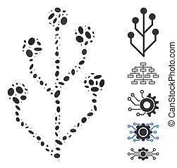 モザイク, 回路, 木, 楕円
