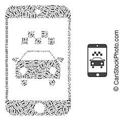 モザイク, 自己, 項目, 適用, recursion, smartphone, タクシー