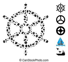 モザイク, 船, ハンドル, オバール