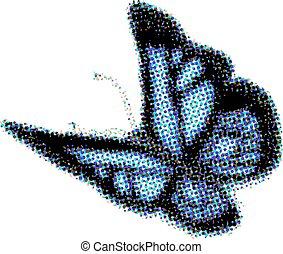 モザイク, 色, シンボル, 昆虫, ベクトル, 蝶, アイコン