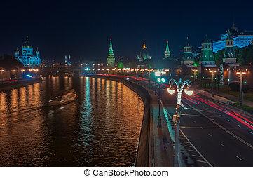 モスクワ, 光景, 航空写真, kremlin, 夜
